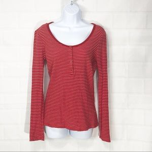 J crew Red White Ribbed Scoop Neck Thermal SM